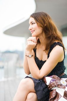 Young Pretty Caucasian Lady Outdoors Stock Photo