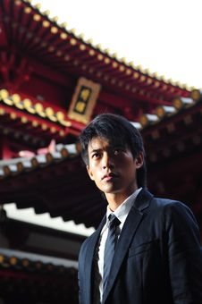 Free Smart Asian Man In Temple Stock Photography - 9408992