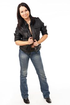 Model With Black Leather Coat Stock Photography