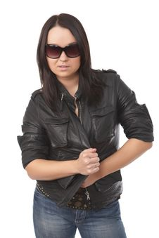Model With Black Leather Coat Royalty Free Stock Image
