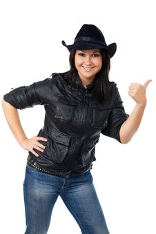 Free Model With Black Leather Coat And A Cowboy Hat Stock Images - 9409484