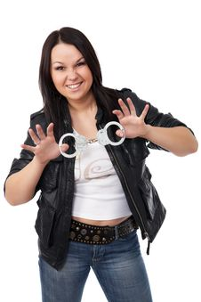 Free Model With Black Leather Coat Royalty Free Stock Image - 9409516