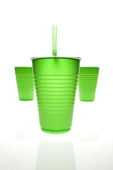 Free Green Plastic Cups W Straw Stock Photography - 9409952