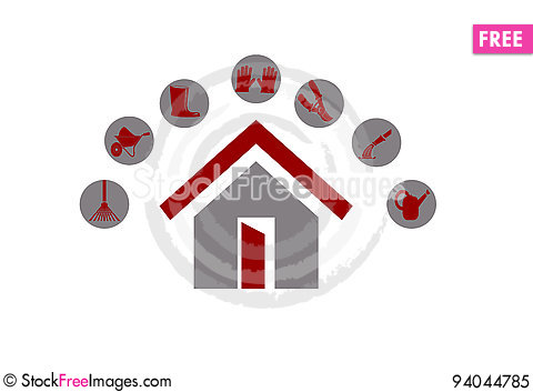 Free Garden Tool Logo With Home Royalty Free Stock Photo - 94044785