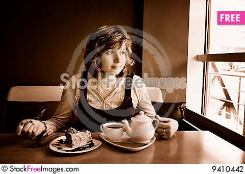 Free Lonely Girl Lunch Stock Photography - 9410442