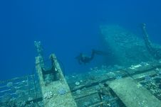 Diver And Sunken Ship Royalty Free Stock Photography