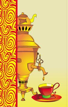 Free The Illustration Of Samovar And A Cup Of Tea Stock Images - 9410514