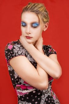 Blonde With Color Makeup Royalty Free Stock Photography