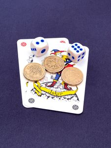 Free Gambling Witrh Dice And Cards. Royalty Free Stock Photo - 9413275