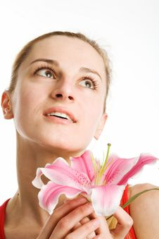 Free Nice Girl With A Pink Lily Royalty Free Stock Photography - 9413597