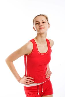 Free A Sporty Blonde In Red Leotard Stock Photo - 9413630