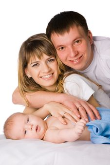 Free Mother And Father Holding Their Little Child Royalty Free Stock Image - 9414226