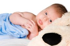 Free Baby In Blue Bath Towel Stock Images - 9414324
