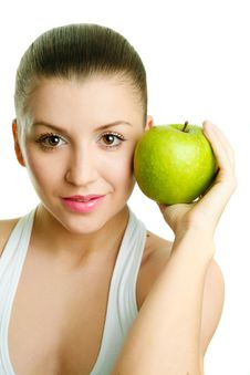 Free Beautiful Young Woman With Green Apple Stock Photos - 9415053