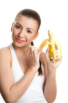 Free Beautiful Girl With  Banana Stock Photography - 9415222