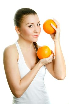 Free Beautiful Girl With Two Juicy Oranges Royalty Free Stock Image - 9415306