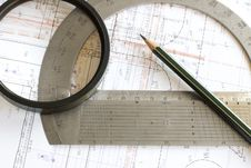 Blueprint With Pencil, Loupe And Steel Protractor