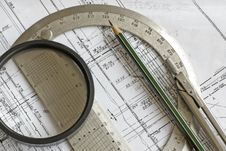 Blueprint Pencil, Protractor, Compass, Loupe Royalty Free Stock Photography