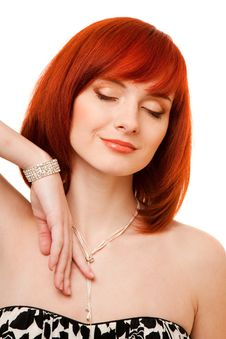 Free Beautiful Redhead Woman With Necklace And Bracelet Royalty Free Stock Images - 9417679