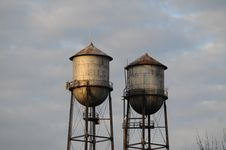 Water Towers W/ Signs Stock Image