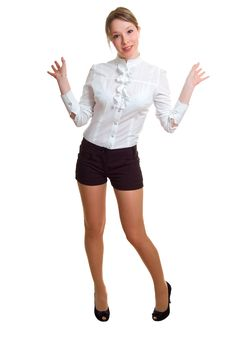 Free Girl In A White Shirt And Black Shorts Royalty Free Stock Photography - 9420787