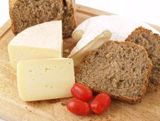 Bread, Tomatoes And Cheese Stock Image