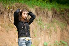 Free Beautiful Girl Stay Against The Bluff Stock Images - 9421634