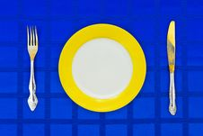Free Plate, Knife And Fork On Table Cloth Stock Image - 9423491
