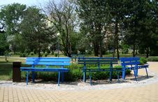 Free Three Blue Benches Royalty Free Stock Photography - 9423517