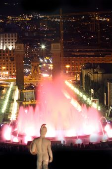 Free Magic Fountain In Barcelona, Spain Stock Photo - 9424150