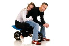 Free Youngsters With Their Pocket-bike Royalty Free Stock Image - 9425696
