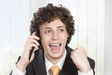 Free Happy Businessman With Cellular Phone Stock Photos - 9427073