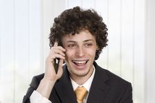 Free Happy Gesturing Business Man With Mobile Phone Stock Image - 9427111