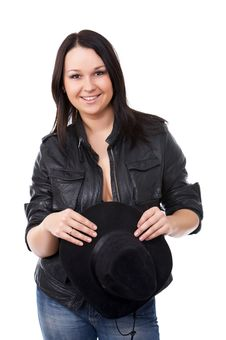 Free Model With Black Leather Coat And A Cowboy Hat Royalty Free Stock Images - 9427259