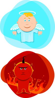 Free Angel And Devil Kids Stock Photography - 9428252