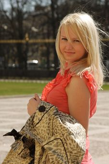 Nice Blond Girl Walks Royalty Free Stock Image