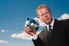 Free Listening To Piggy Bank Stock Image - 9429841