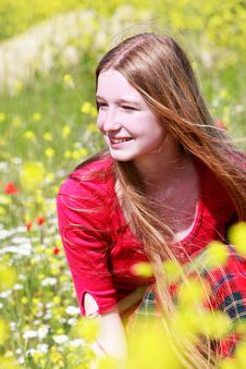 Free Girl With Long Hair On Summer Meadow Royalty Free Stock Photography - 9429867