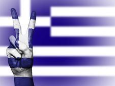 Free Greek Flag And Peace Sign Royalty Free Stock Image - 94244106