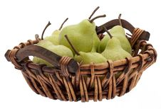 Basket With Pears Royalty Free Stock Image