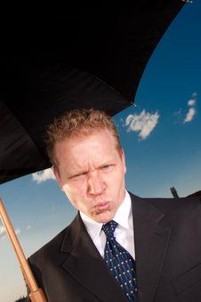 Free Sad Man With Umbrella Royalty Free Stock Photo - 9430905