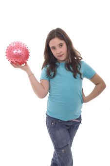 Free Girl With Pink Ball Stock Photos - 9435803