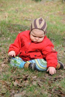 Little Serious Boy On Walk Stock Image