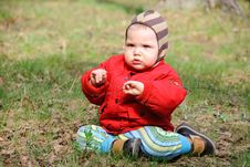 Little Serious Boy On Walk Stock Photos
