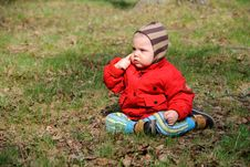 Little Serious Boy On Walk Stock Images