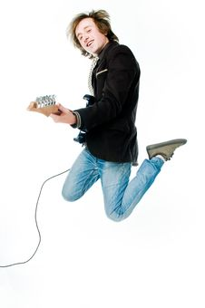 Free Jumping Man With Electro Guitar Royalty Free Stock Photos - 9436608