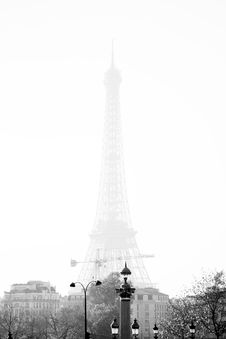 Eiffel Tower In Fog Royalty Free Stock Photo