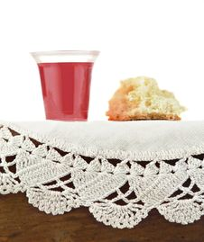 Free Communion Bread And Wine On White Background Stock Image - 9438151