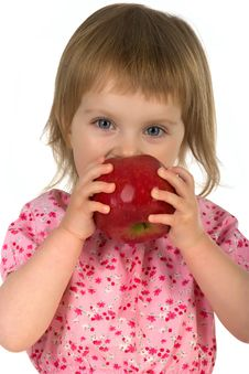Little Girl With Red Apple Royalty Free Stock Images