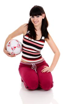 Free Woman With A Football Royalty Free Stock Images - 9440049